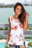 Ivory Floral Top with Criss Cross Detail