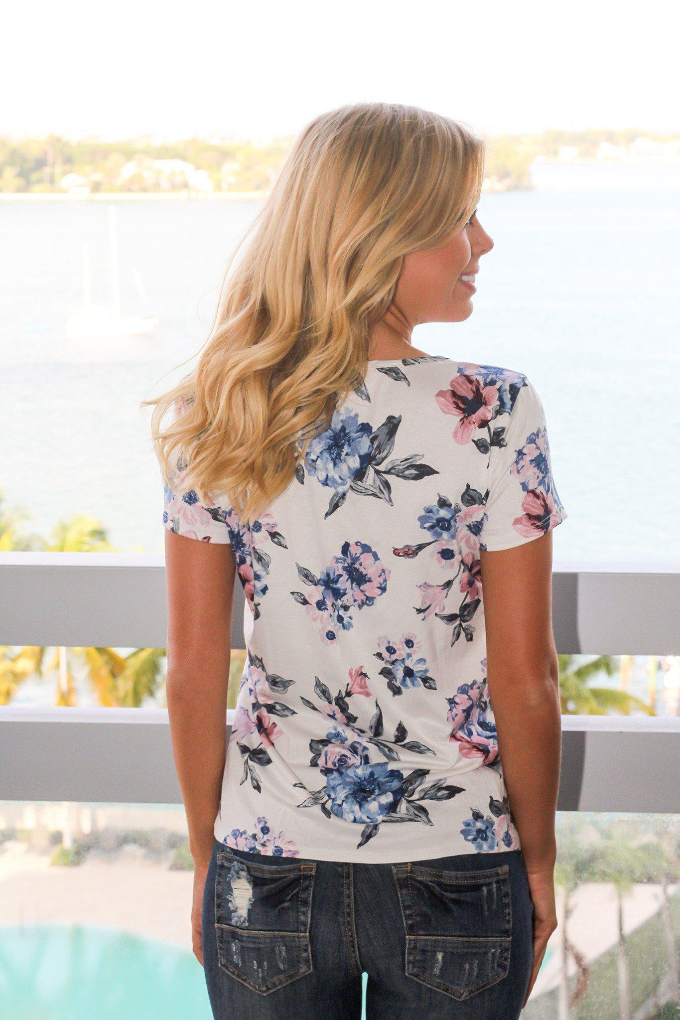 Ivory Floral Top with Criss Cross Front