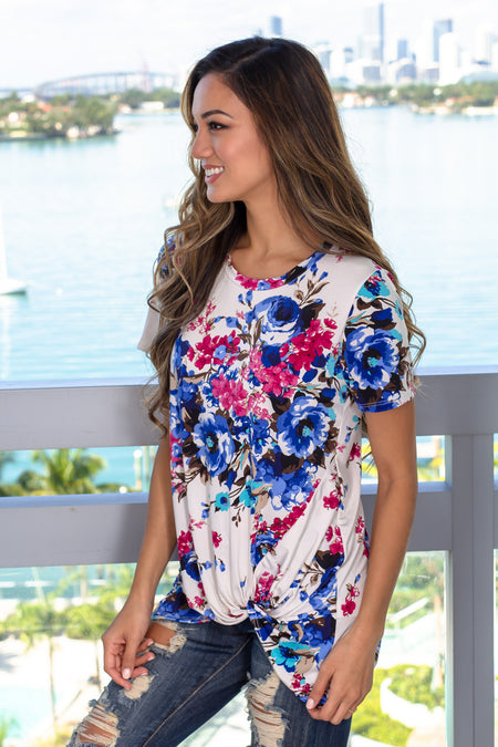 Ivory Floral Top with Front Knot