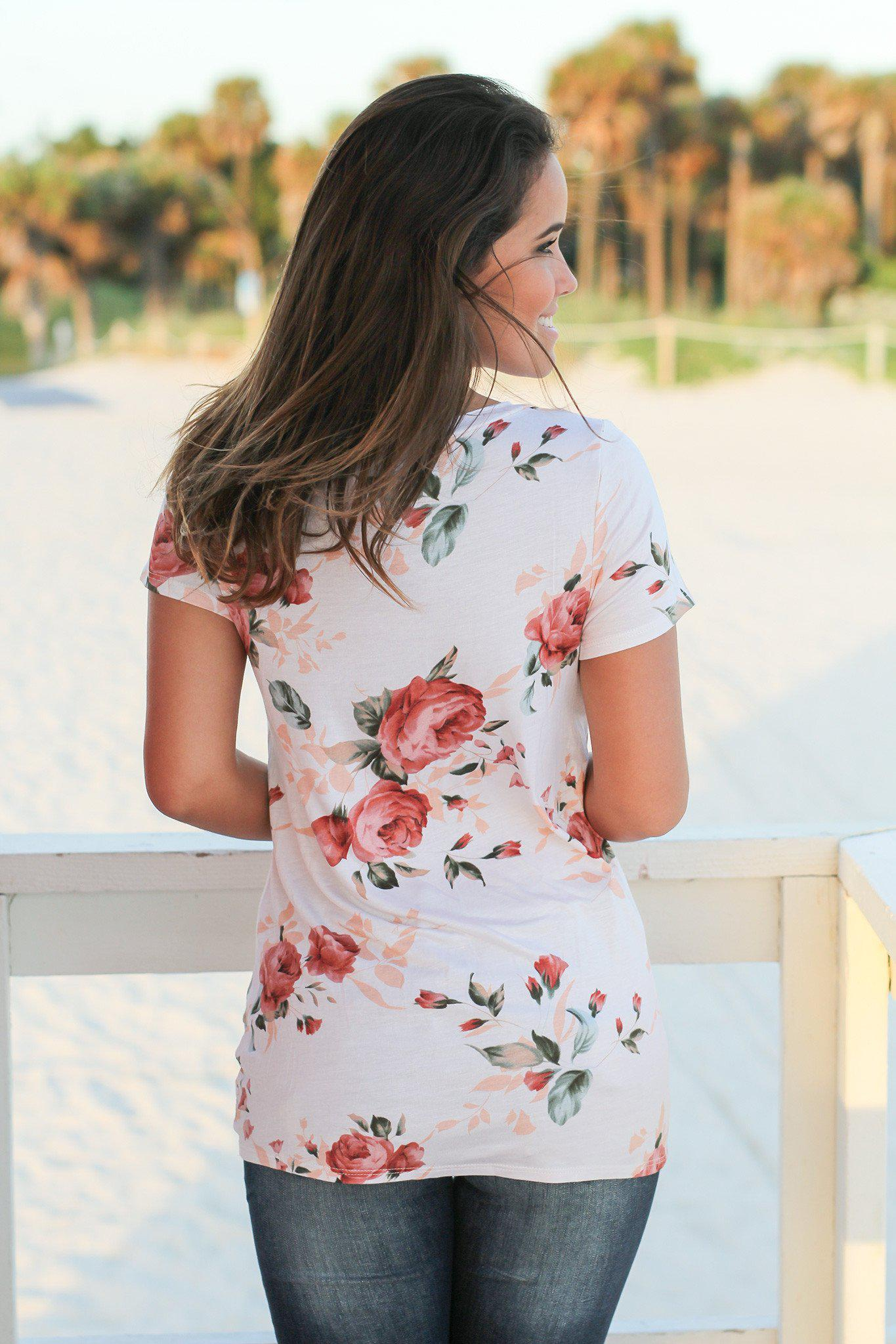 Ivory Floral Top with Knot