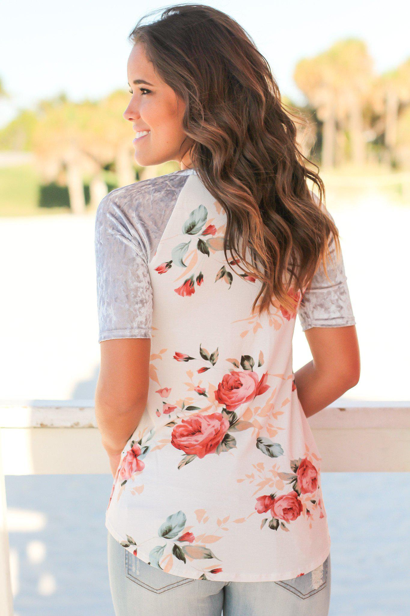 Ivory Floral Top with Velvet Sleeves