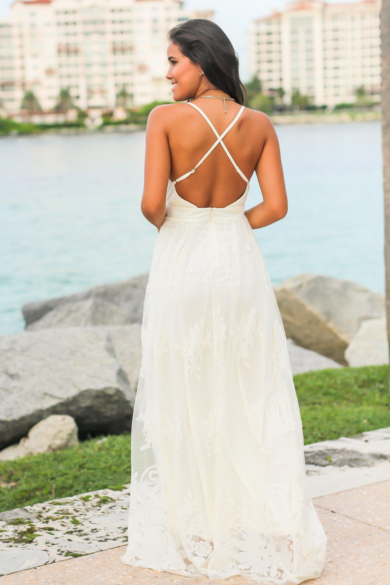 Ivory Floral Tulle Maxi Dress with Criss Cross Back