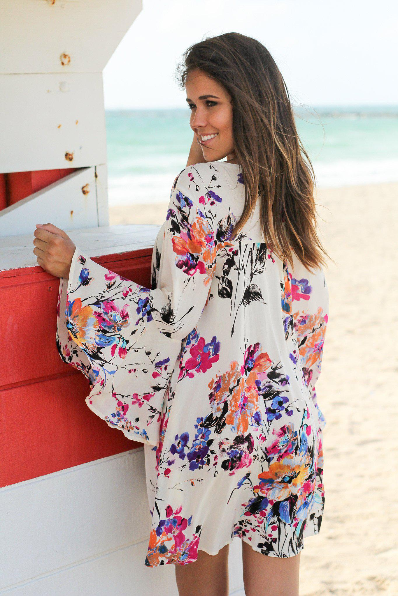Ivory Floral Tunic with Bell Sleeves