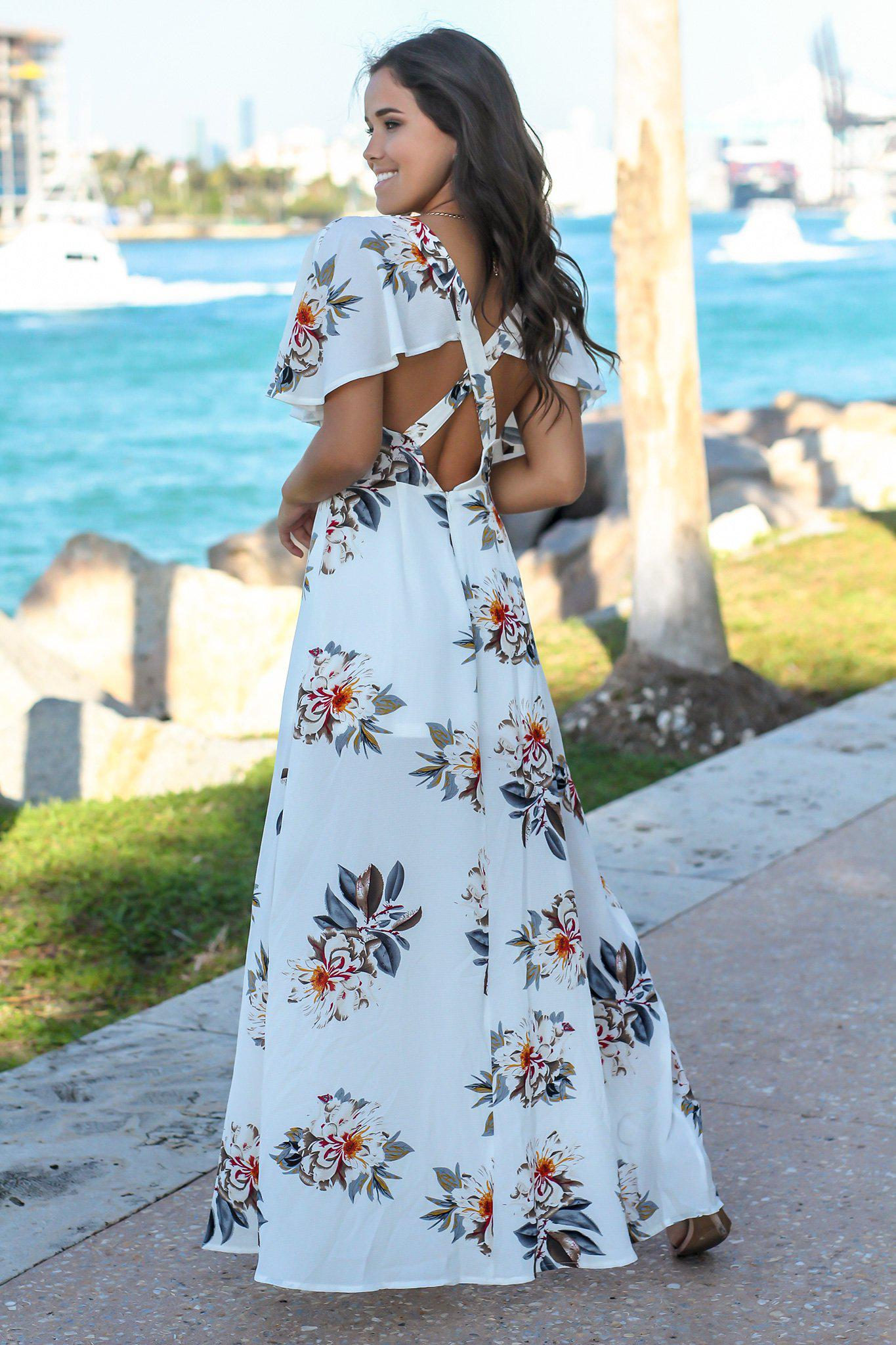 Ivory Floral V-Neck Maxi Dress with Criss Cross Back