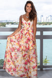 Ivory Floral V-Neck Maxi Dress with Open Back