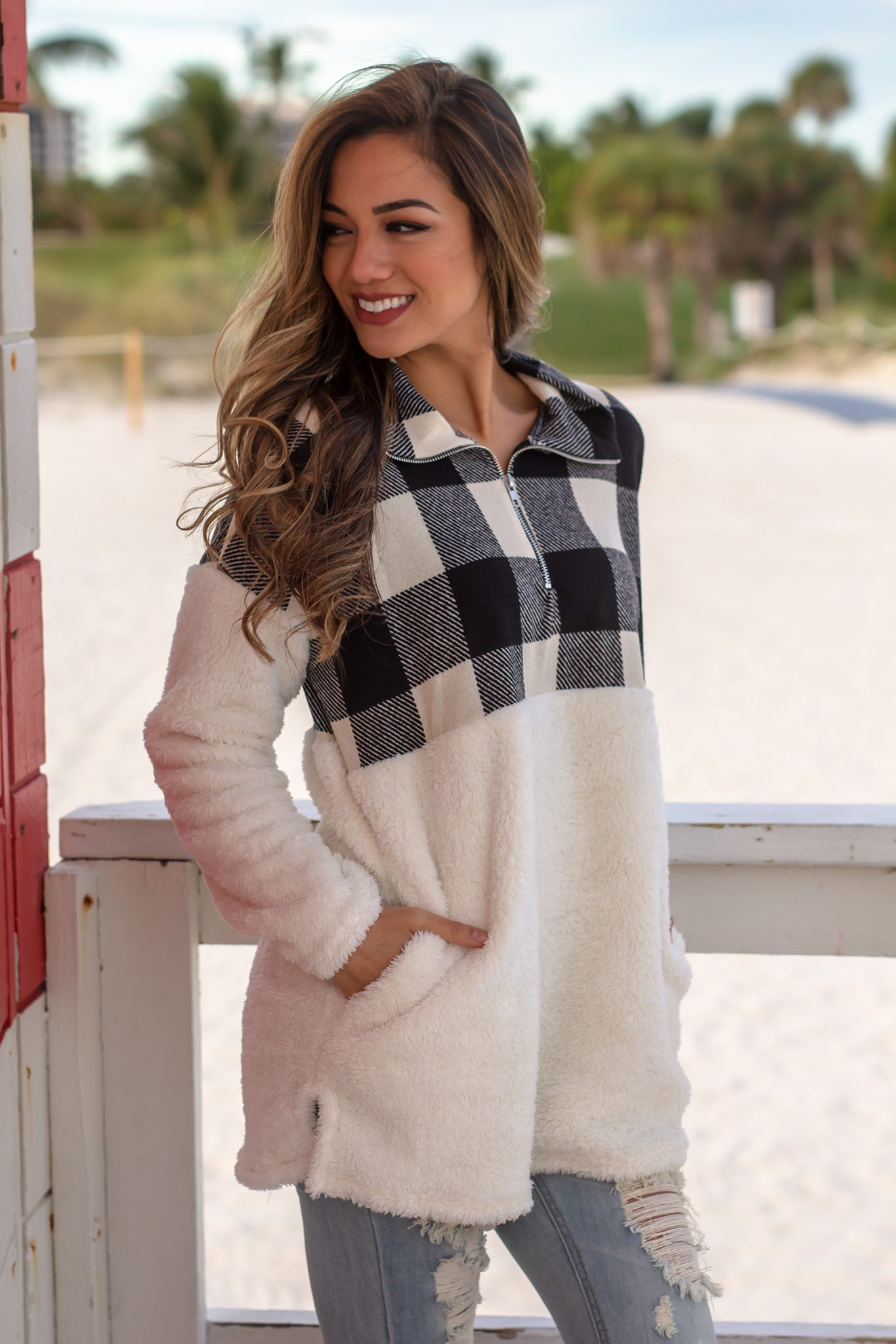 Ivory Fuzzy Pullover with Plaid Detail