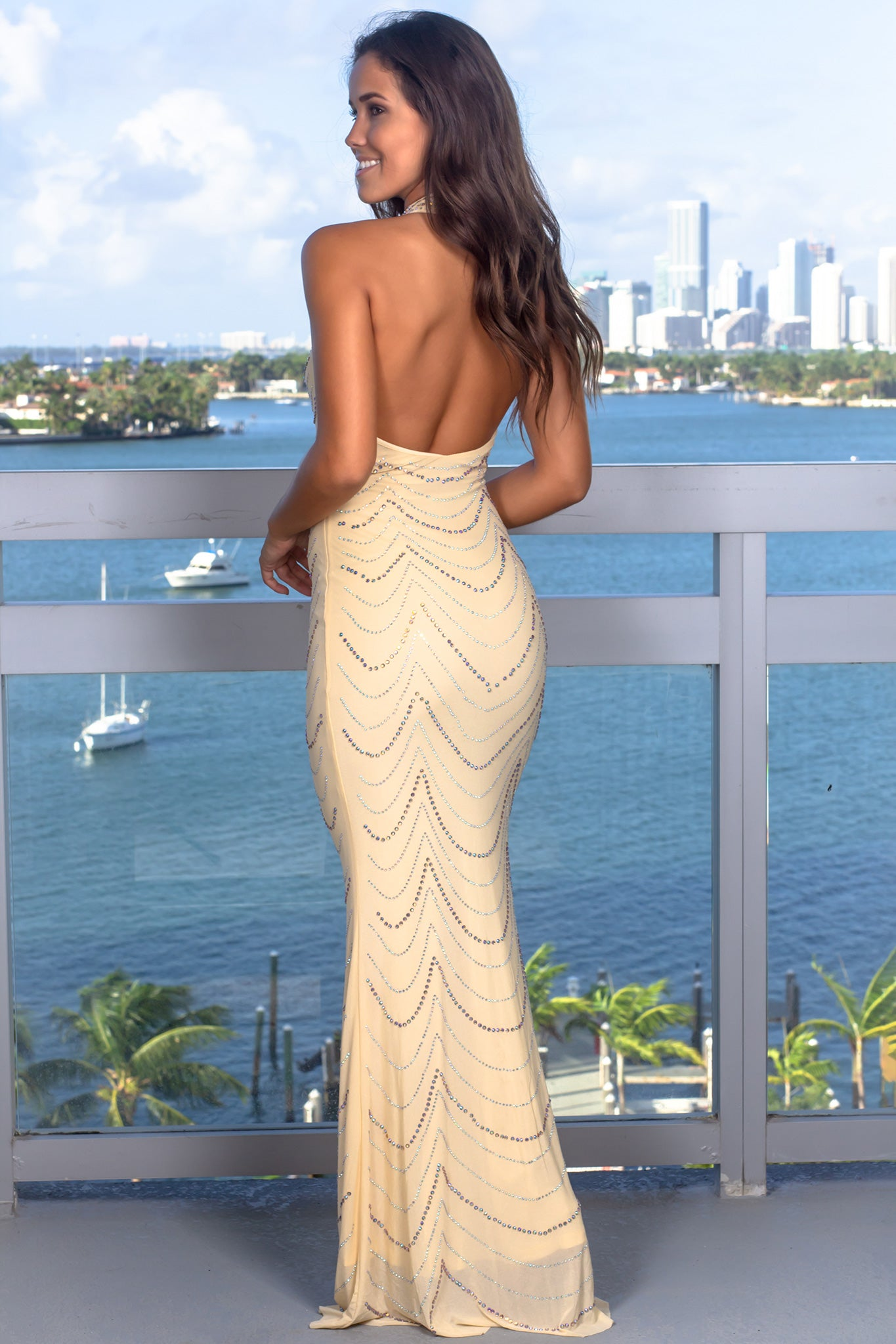 Ivory Halter Neck Maxi Dress with Jewel Detail