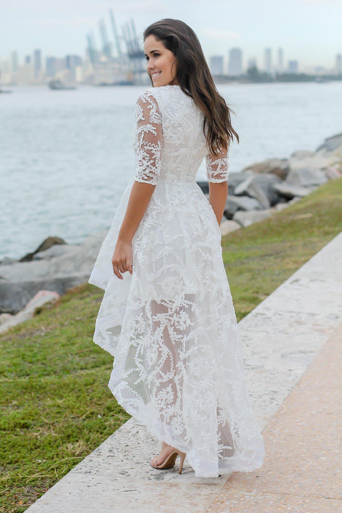 Ivory High Low Dress with 3/4 Sleeves