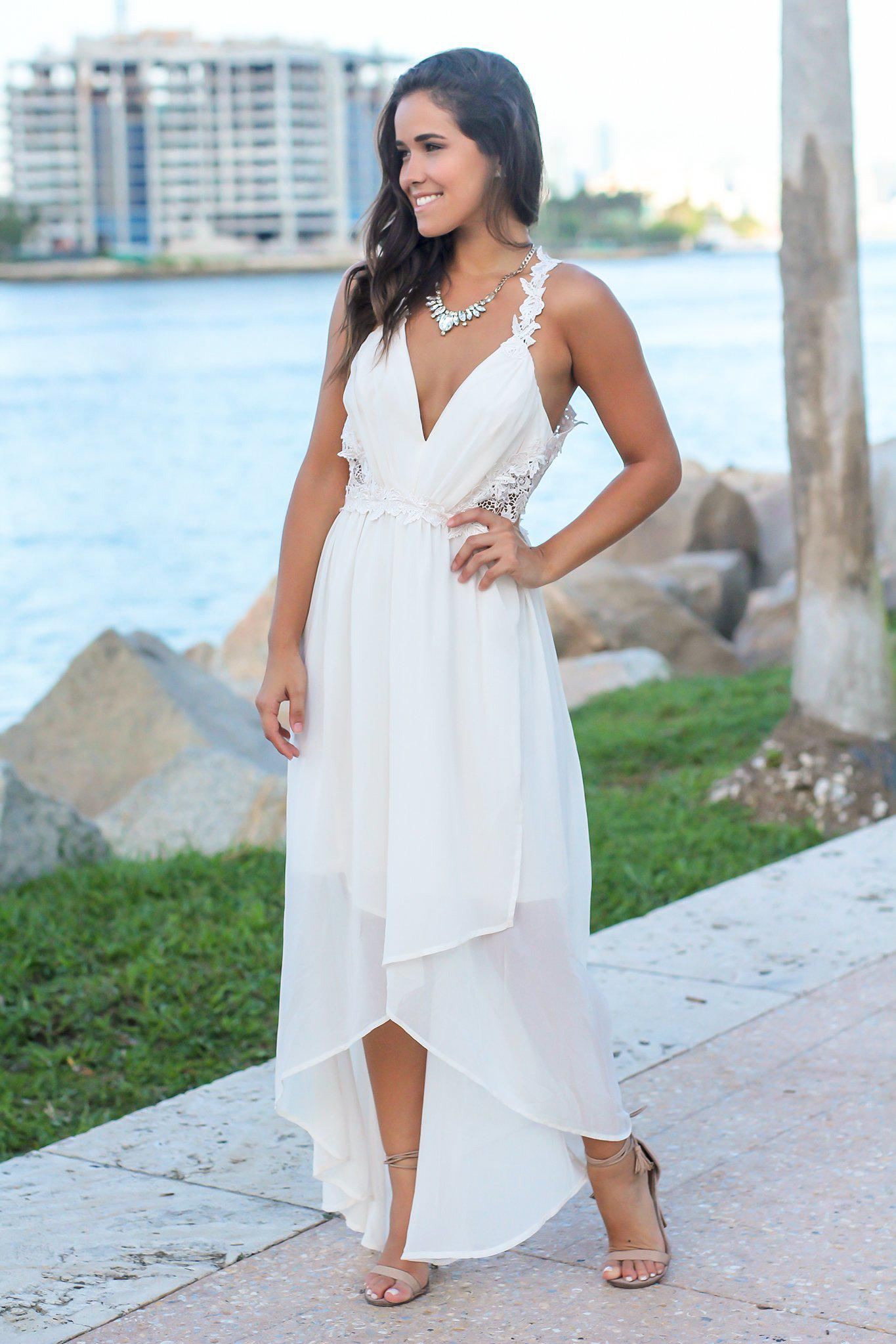 Ivory High Low Dress with Crochet Cut Outs