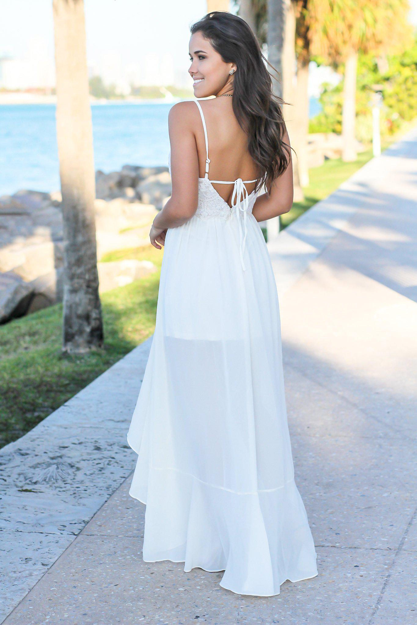 Ivory High Low Dress with Embroidered Top