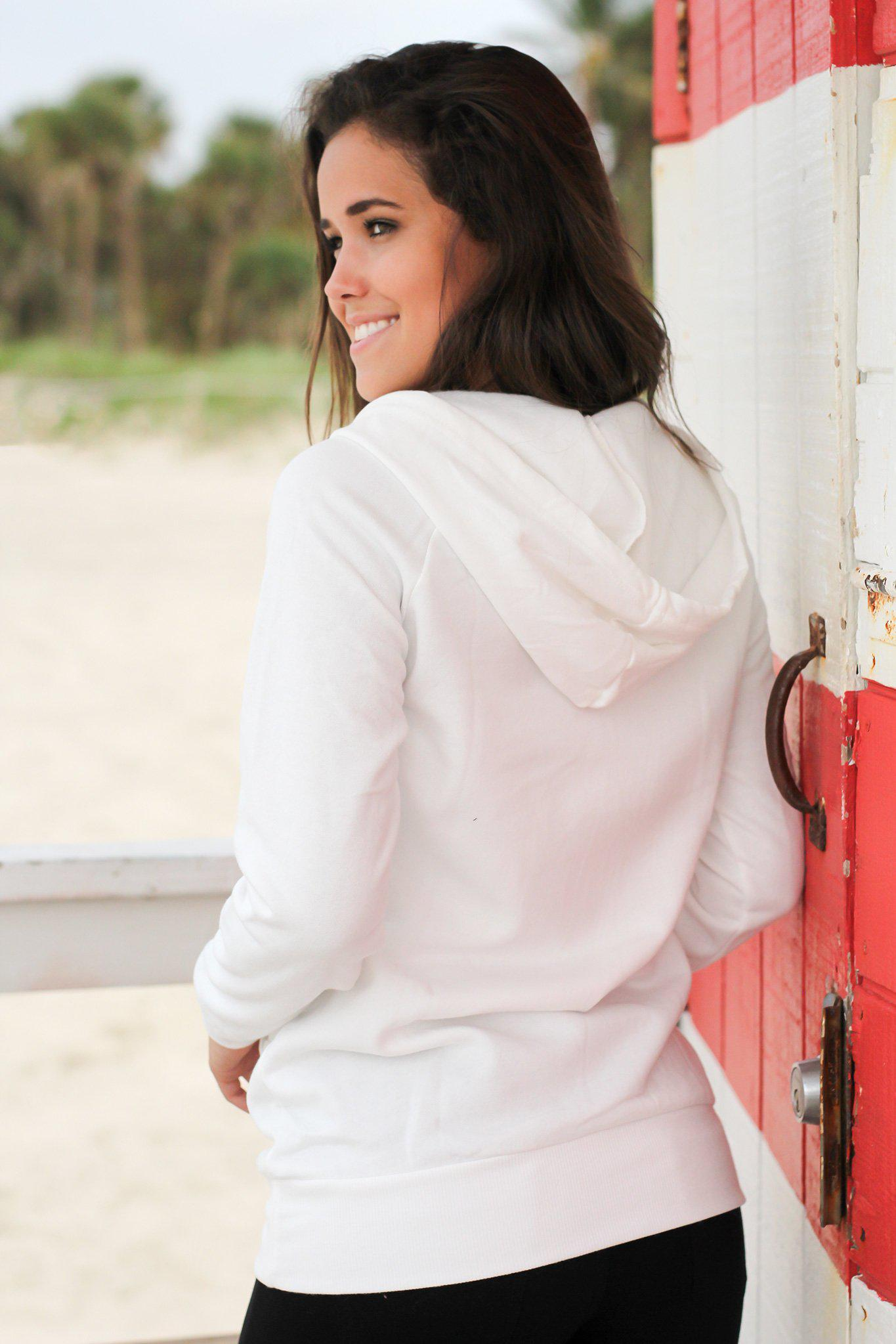 Ivory Hoodie with Pocket