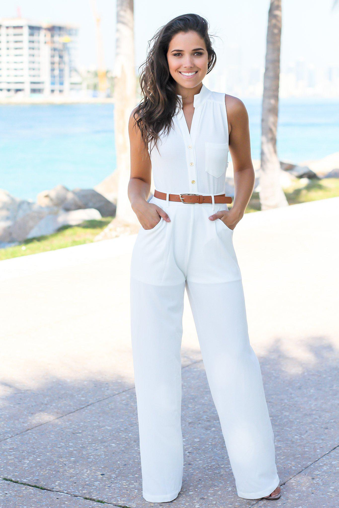 Ivory Jumpsuit with Belt