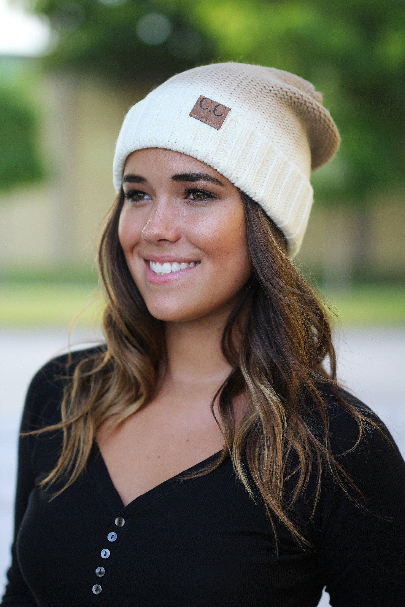 Ivory Ombre Knit Beanie