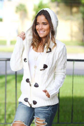 Ivory Knit Hooded Sweater with Fur