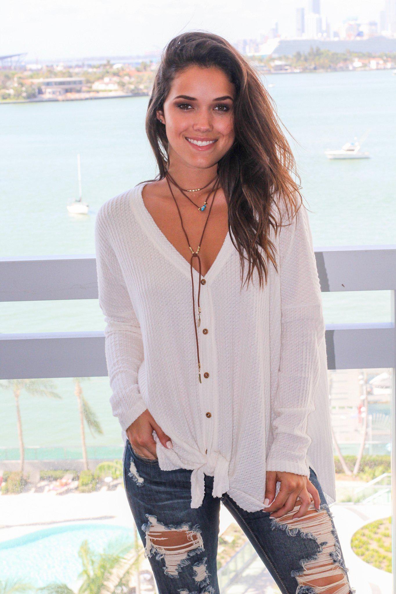 Ivory Knit Oversized Button Down Top