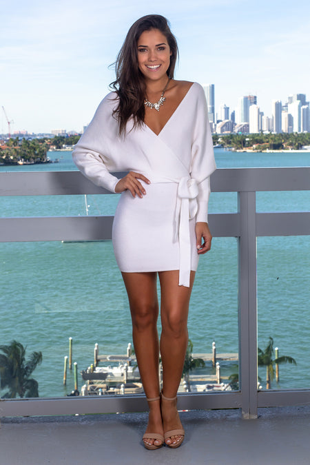 Ivory Knit Short Dress