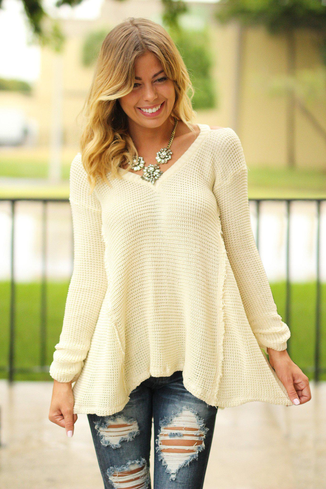 Ivory Knit V-Neck Sweater