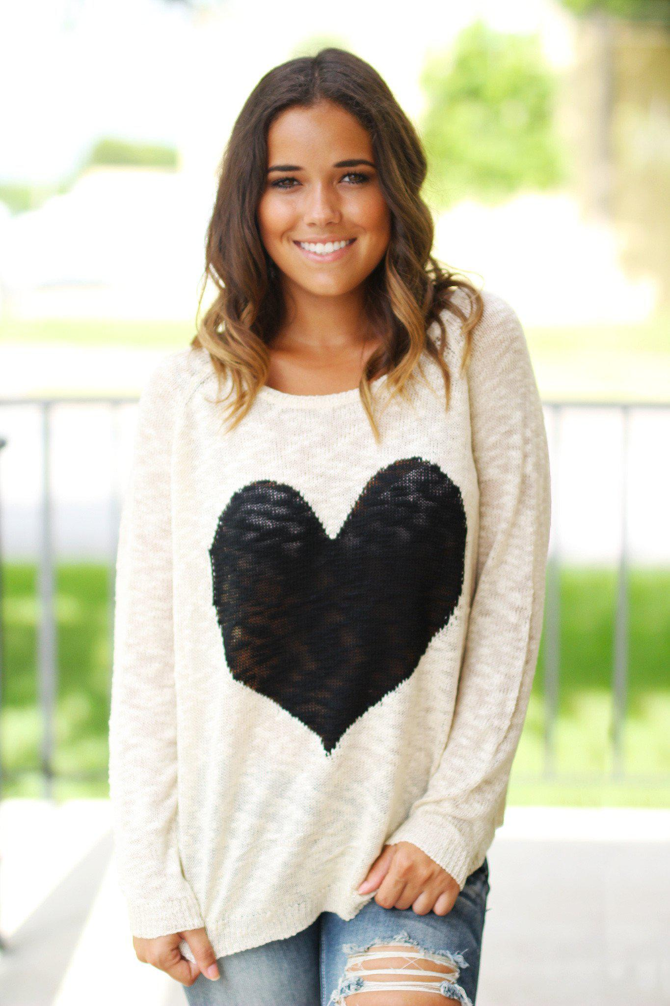 Ivory Knit Sweater With Heart