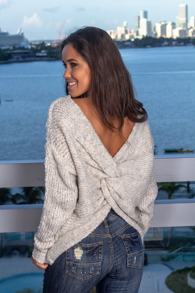 Ivory Knit Sweater with Twist Back
