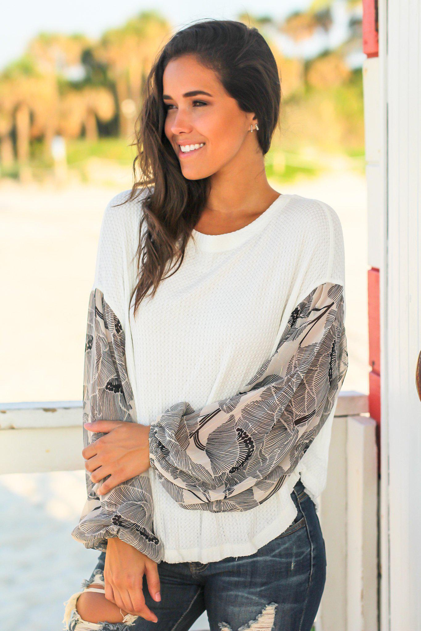 Ivory Knit Top with Printed Sleeves