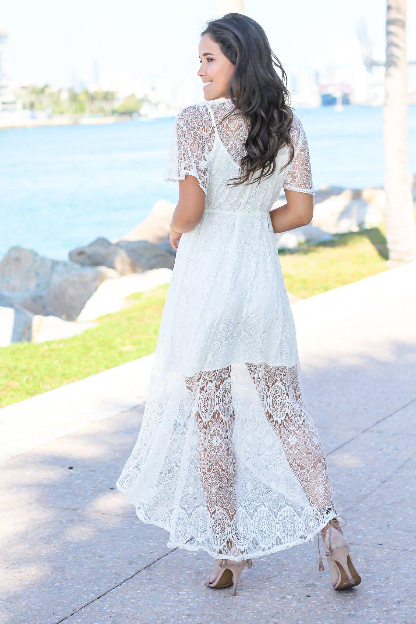 Ivory Lace High Low Dress