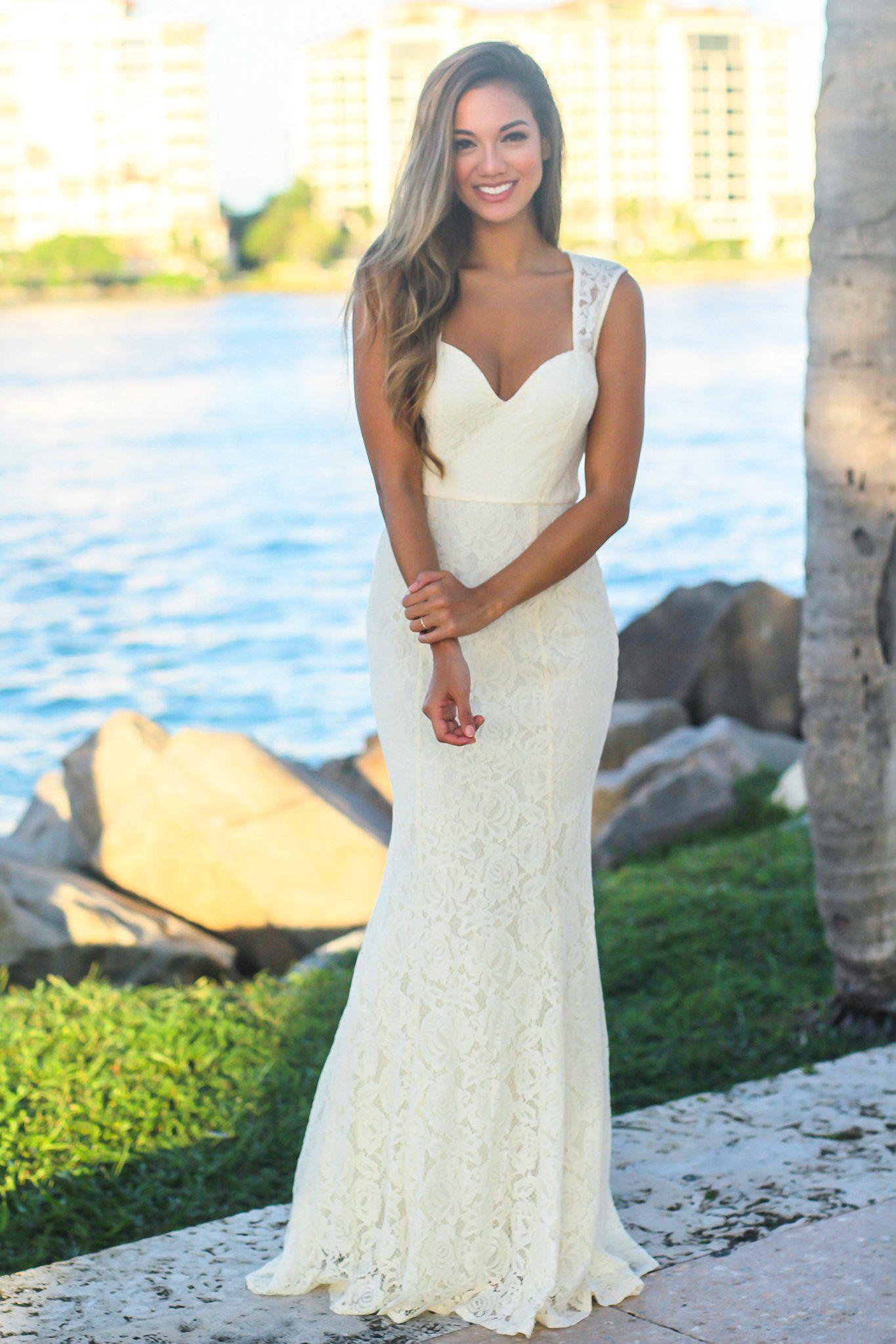 Ivory Lace Maxi Dress with Keyhole Back