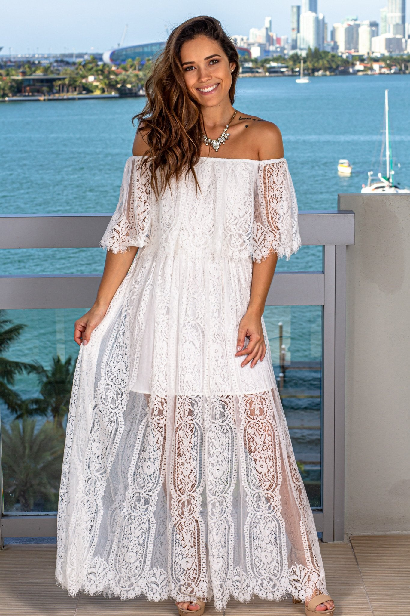 Ivory Lace Off Shoulder Maxi Dress