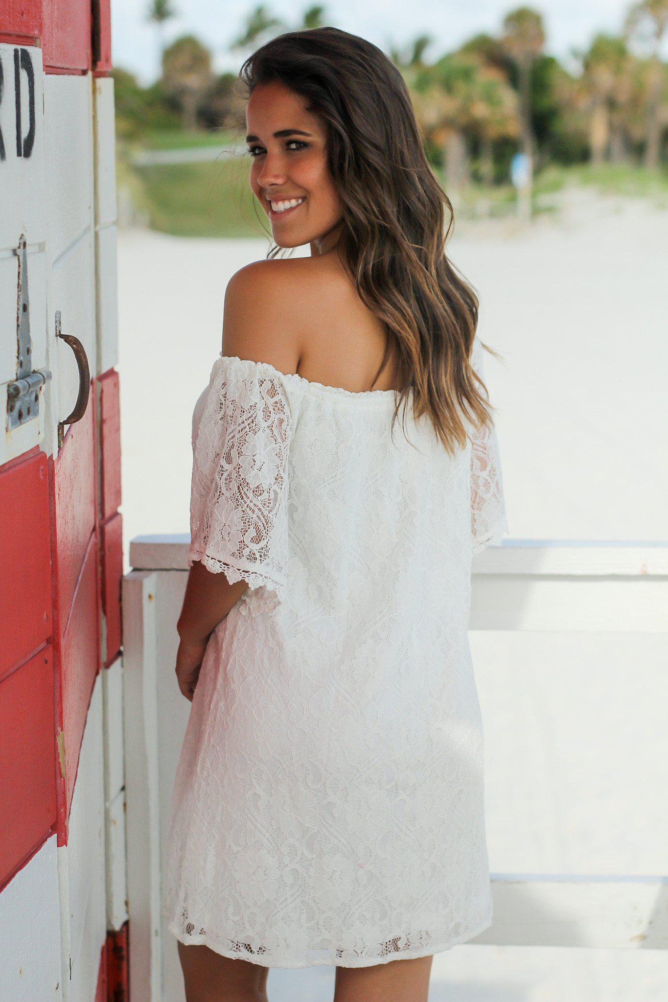 Ivory Lace Off Shoulder Short Dress