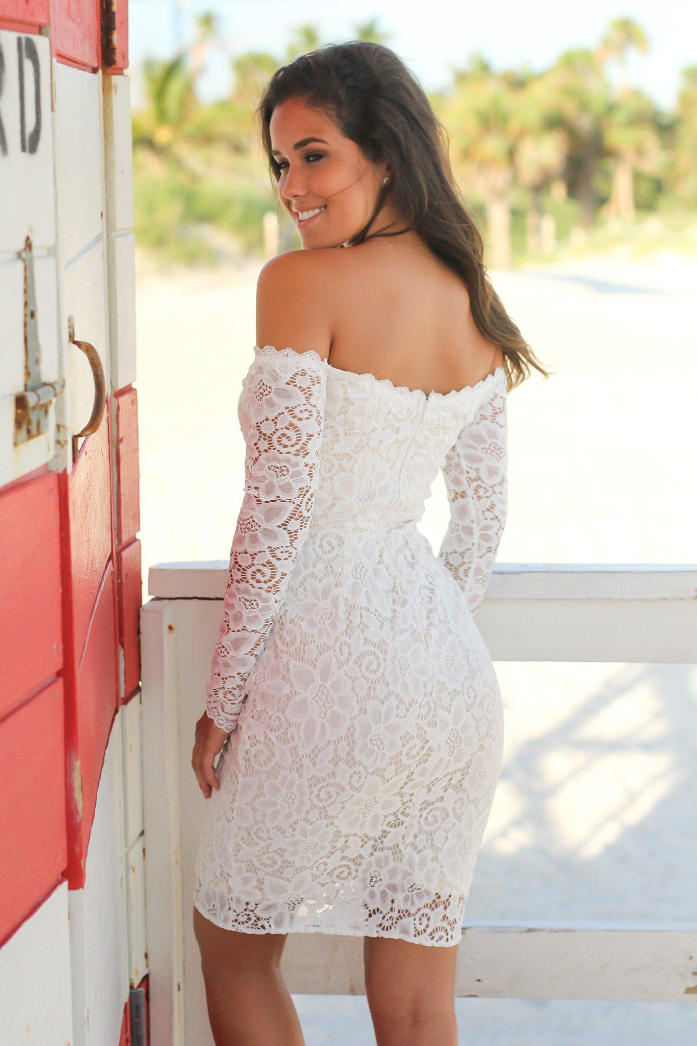 Ivory Lace Off Shoulder Short Dress with Long Sleeves