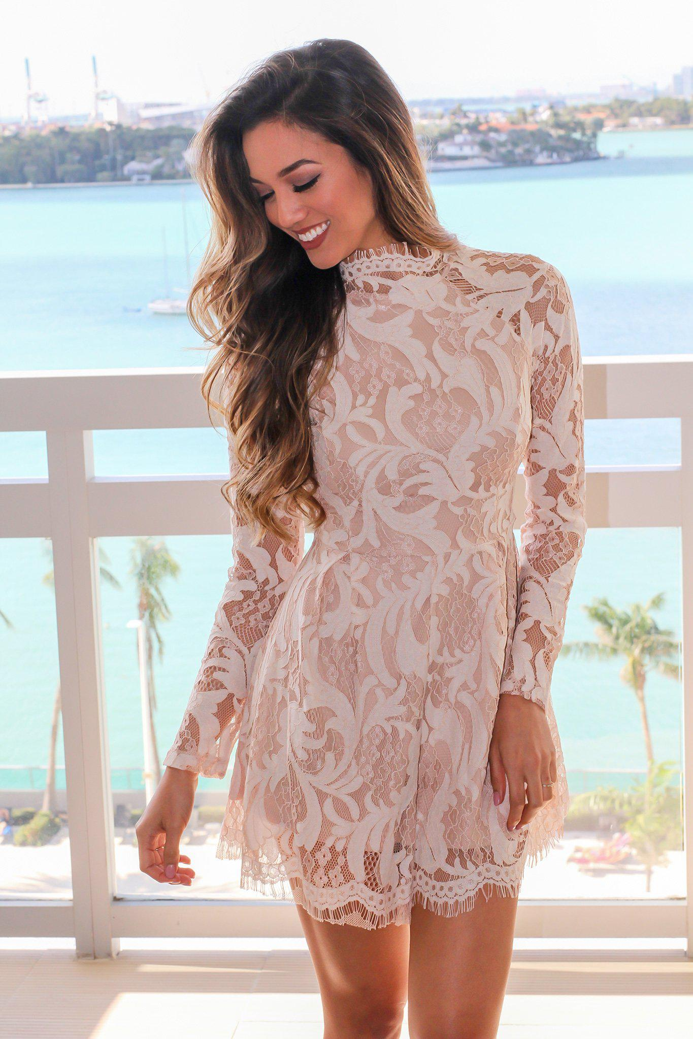 Ivory Lace Romper with Lace Up Back