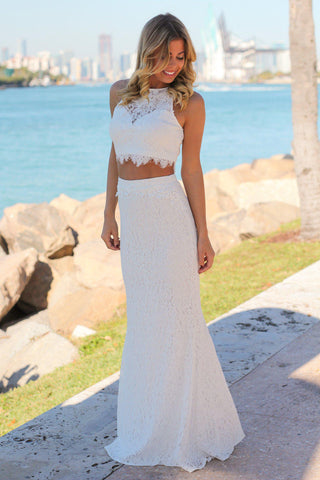 Ivory Lace Crop Top and Skirt Set