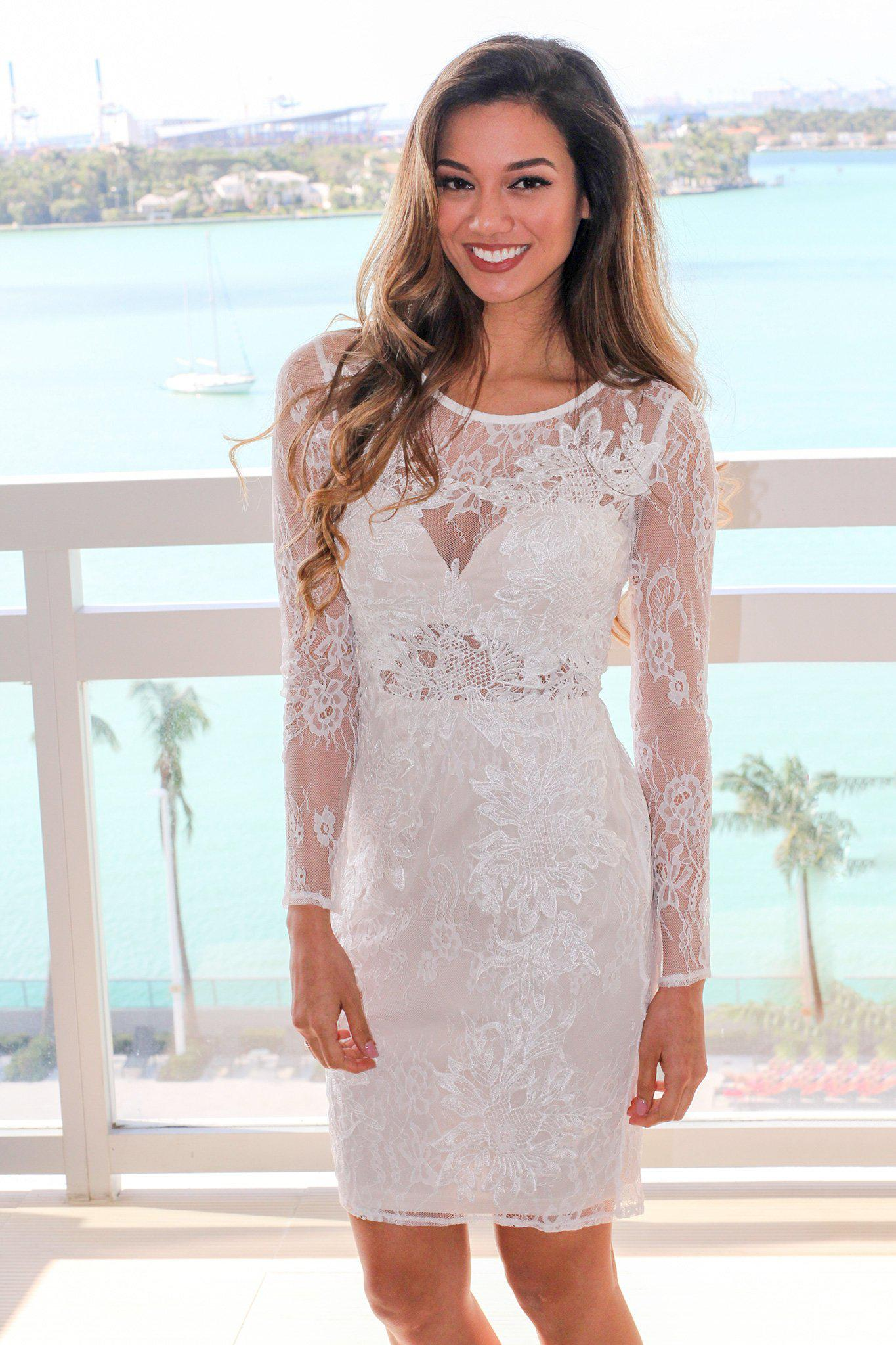 Ivory Lace Short Dress with Long Sleeves