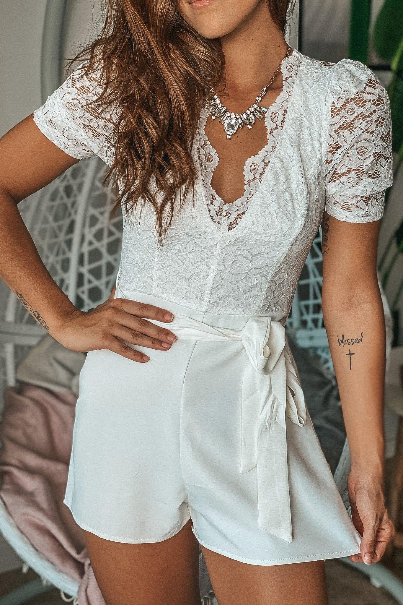 Ivory Lace Top Romper