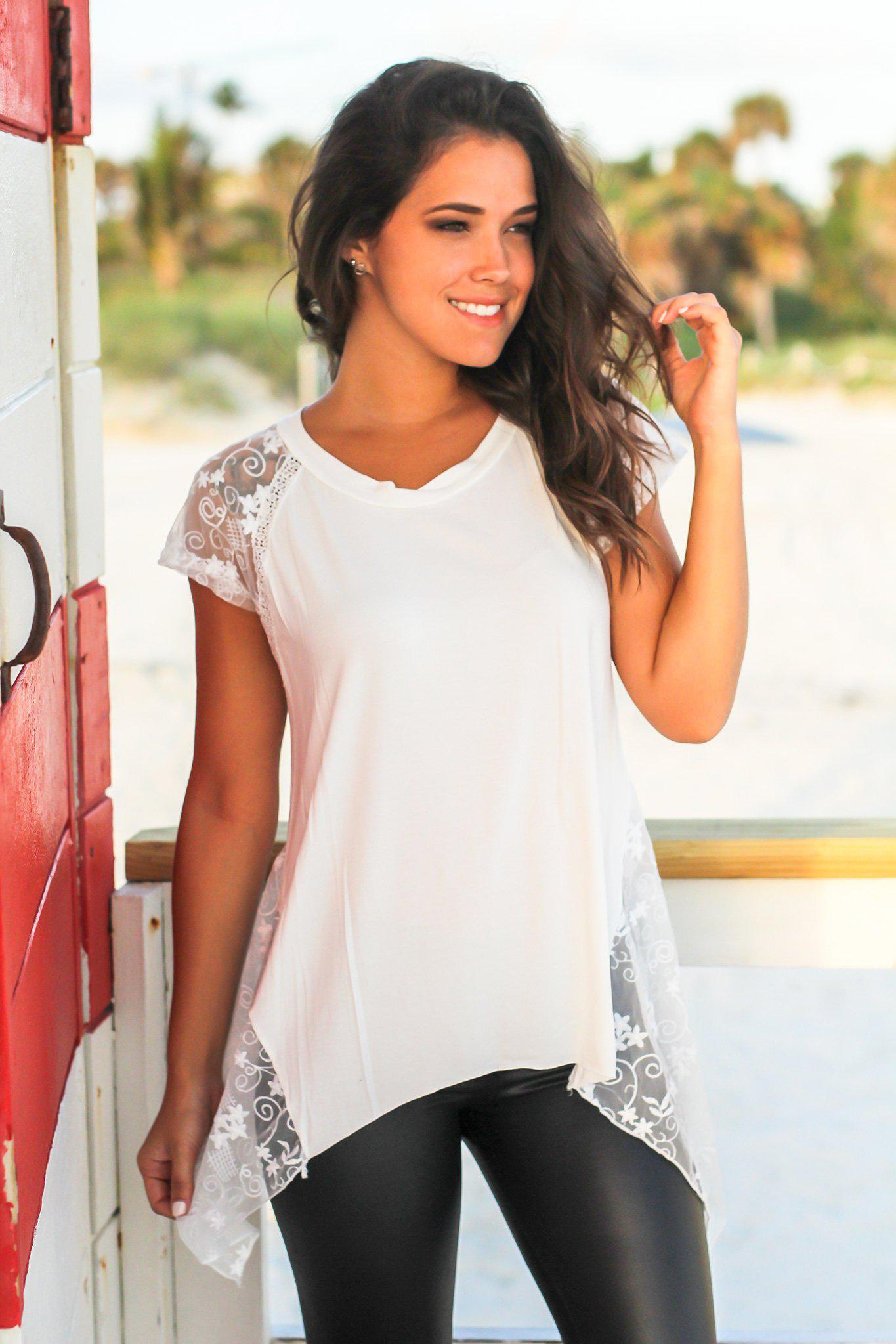Ivory Lace Top with Asymmetrical Hem