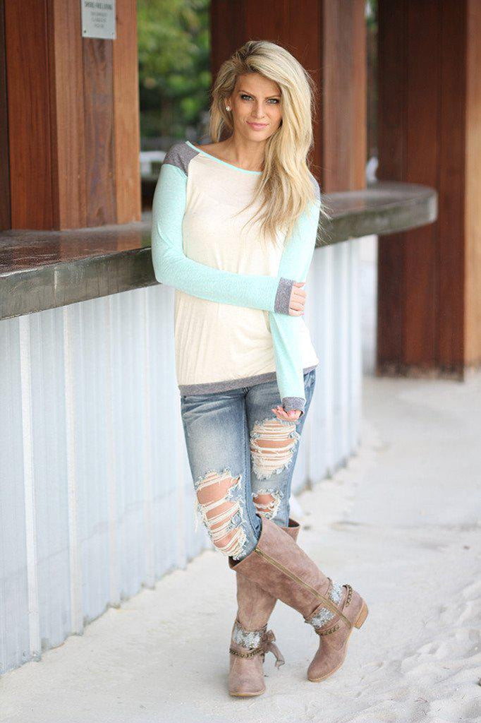 mint and ivory cute top