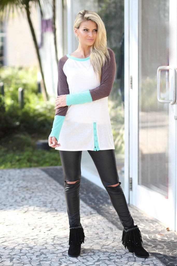 ivory and mint top