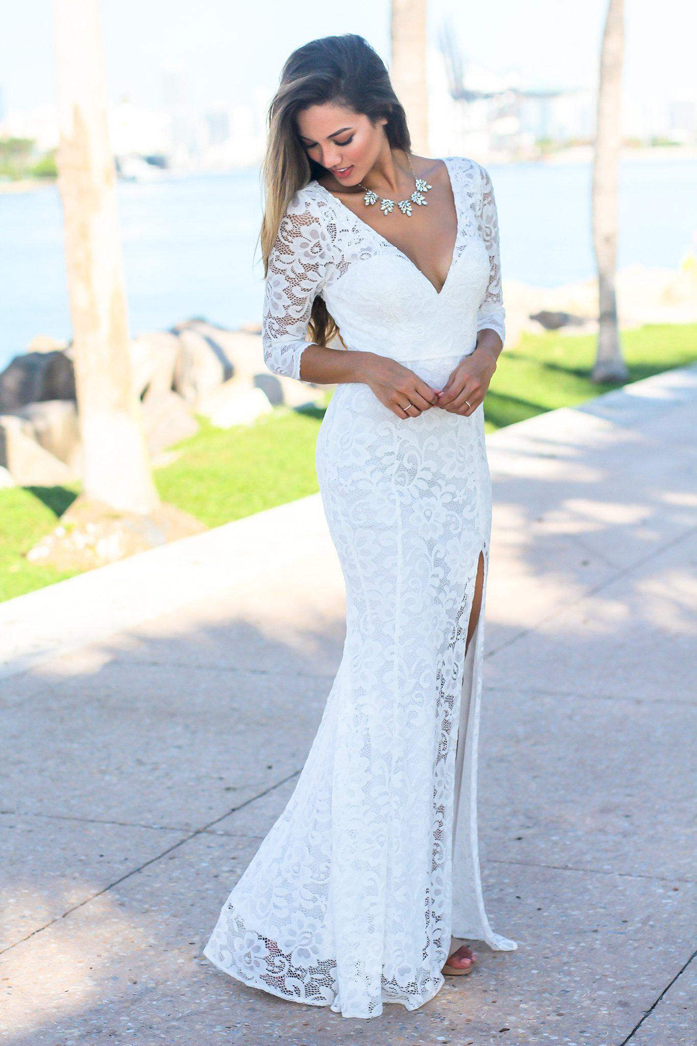 Ivory Maxi Dress with 3/4 Sleeves