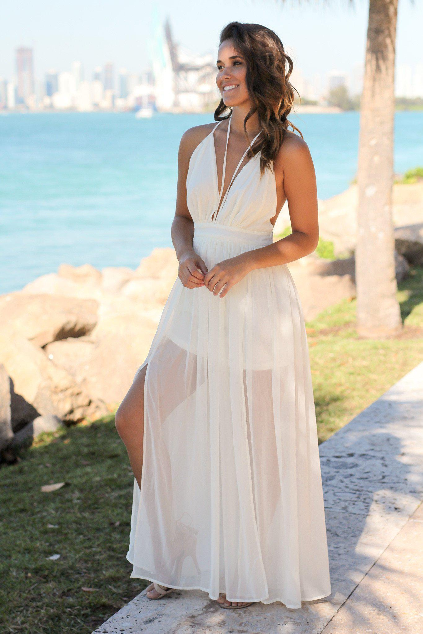 Ivory Maxi Dress with Criss Cross Back