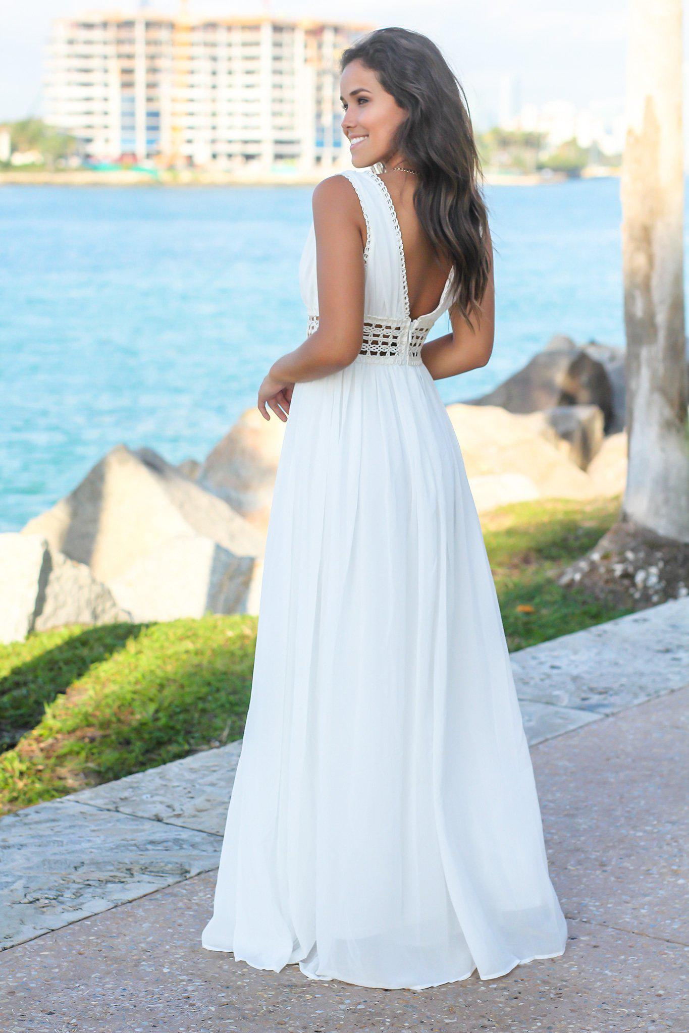 Ivory Maxi Dress with Crochet Details