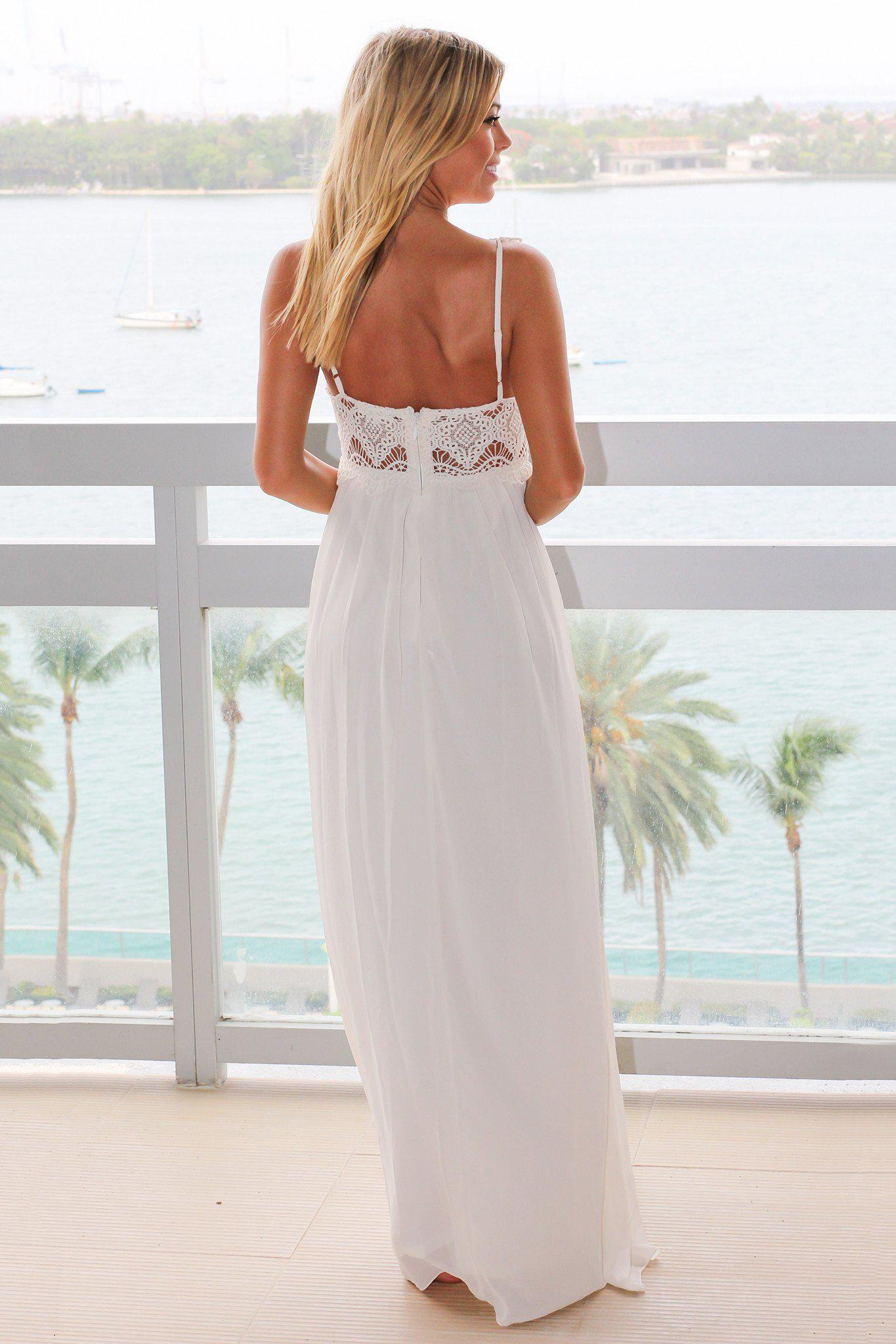Ivory Maxi Dress with Crochet Top