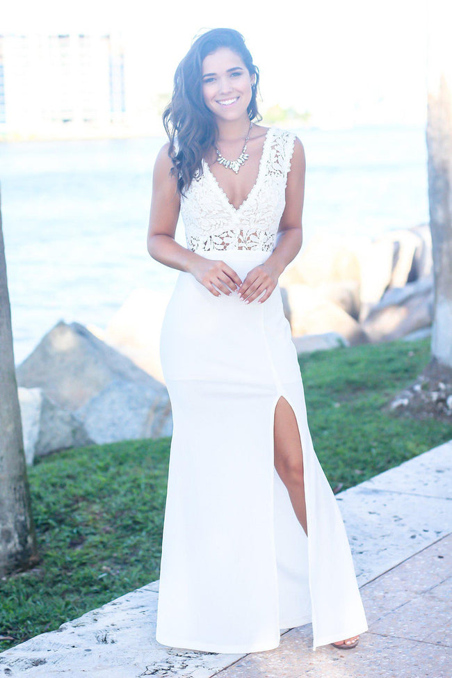 Ivory Maxi Dress with Crochet Top and Side Slit
