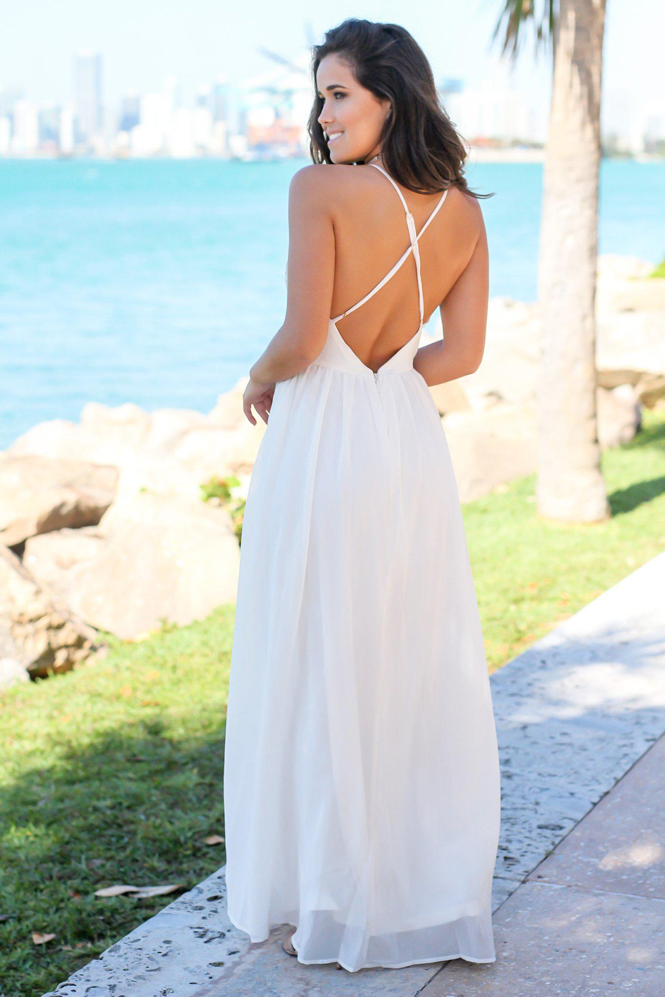 Ivory Maxi Dress with Embroidered Top and Criss Cross Back