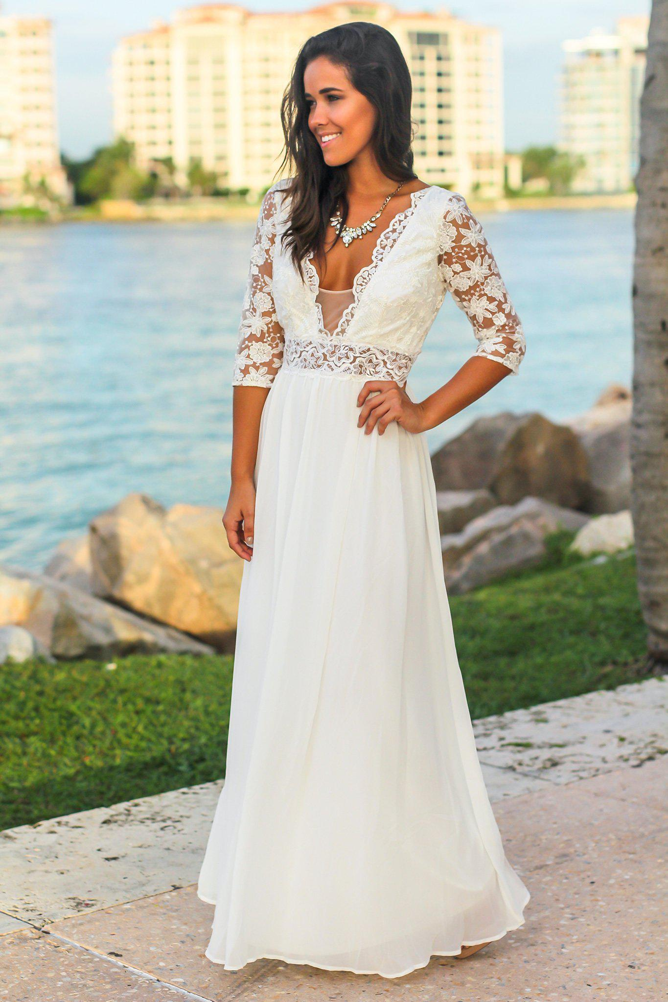 Ivory Maxi Dress with Embroidered Top and Open Back