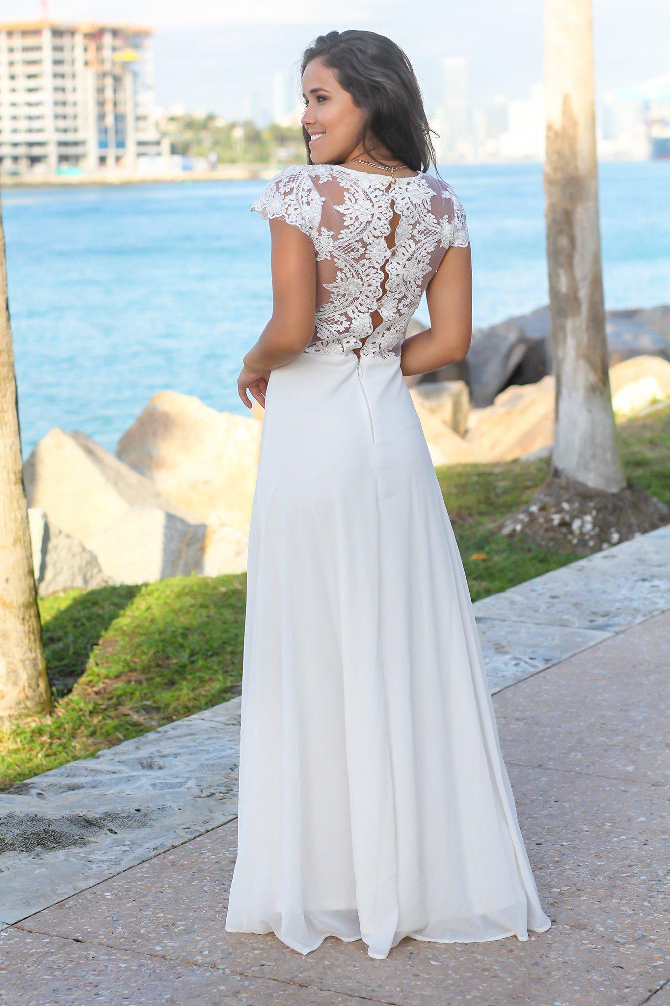 Ivory Maxi Dress with Embroidered Top and Slit