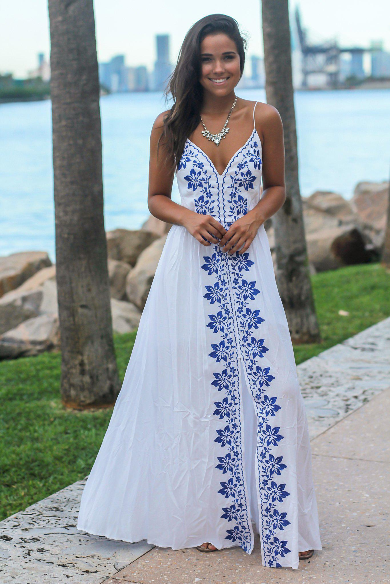 Ivory Maxi Dress with Floral Embroidery
