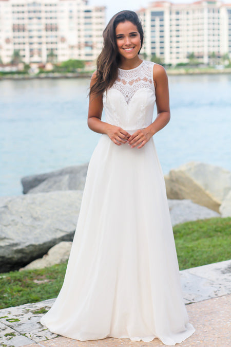 Ivory Maxi Dress with Lace Top and Mesh Back