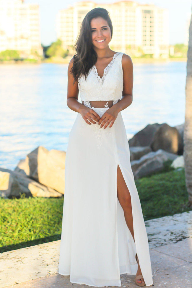 Ivory Maxi Dress with Mesh and Embroidered Detail