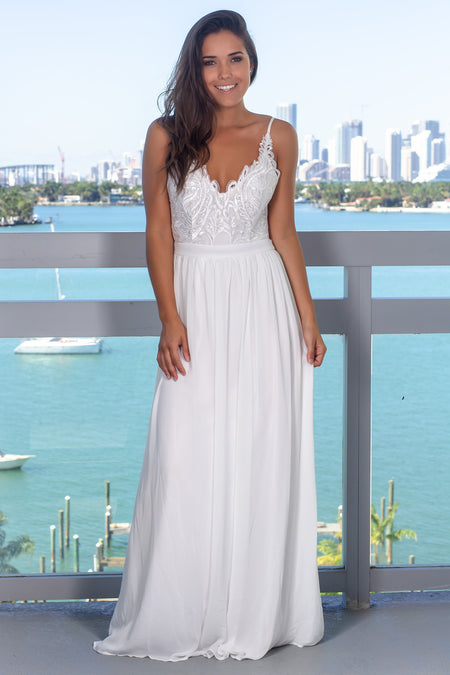 Ivory Maxi Dress with Open Back