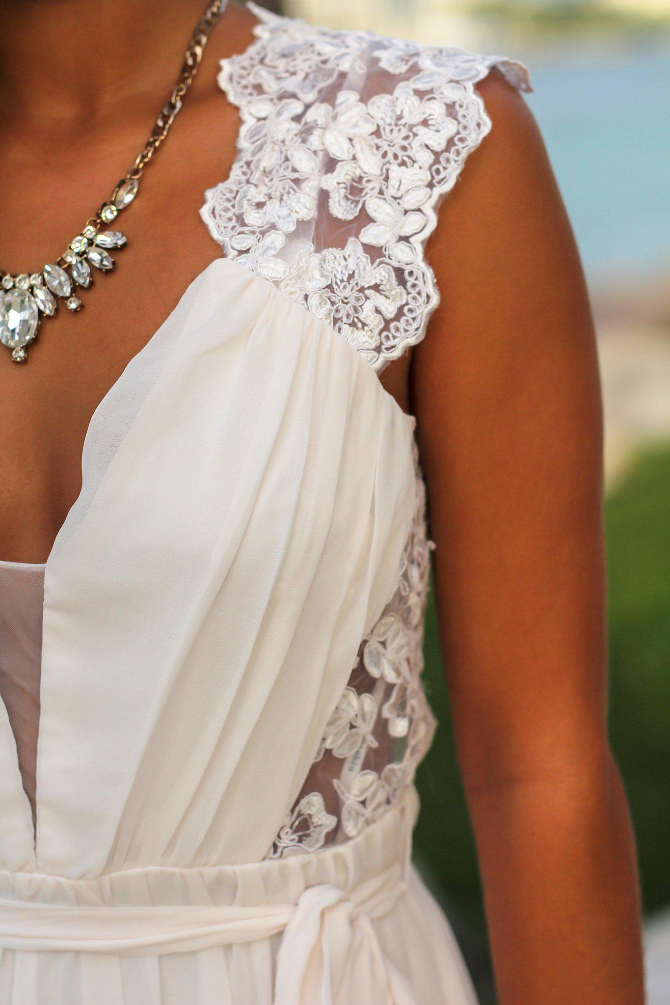 Ivory Maxi Dress with Open Embroidered Back Detail