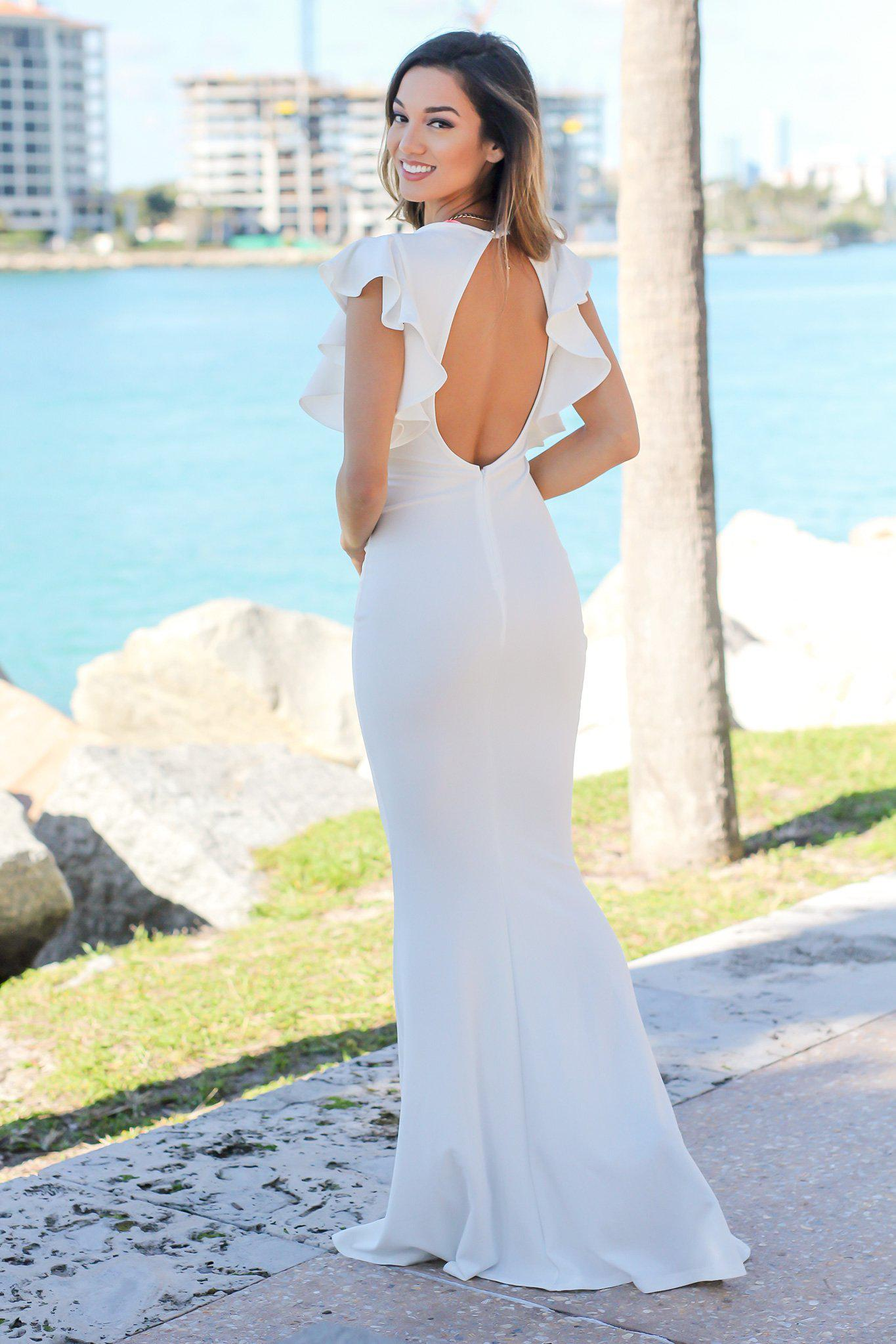 Ivory Maxi Dress with Ruffle Sleeves